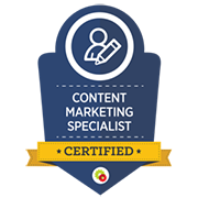 Certified Content Marketing Specialist Badge issued by DigitalMarketer.com