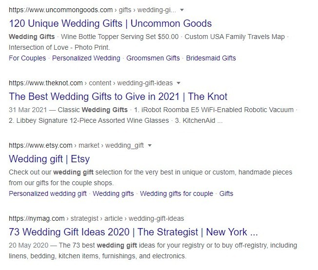 "Screenshot showing the Google top results for the keyphrase ""wedding gifts"""